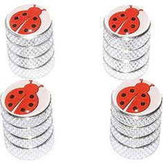 """(4 Count) Cool and Custom """"Diamond Etching Ladybug Top with Easy Grip Texture"""" Tire Wheel Rim Air Valve Stem Dust Cap Seal Made of Genuine Anodized Aluminum Metal {Starry Honda Silver and Red Colors - Hard Metal Internal Threads for Easy Application - Rust Proof - Fits For Most Cars, Trucks, SUV, RV, ATV, UTV, Motorcycle, Bicycles}"""