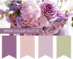ideas for wedding colors spring purple roses Purple Color Palettes, Spring Color Palette, Green Colour Palette, Spring Colors, Grey Palette, Vintage Wedding Colors, Spring Wedding Colors, Spring Theme, Wedding Colours