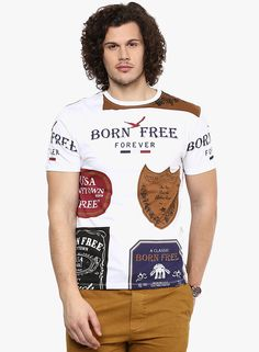 Buy WYM White Printed Round Neck T-Shirt for Men Online India, Best Prices, Reviews | WY325MA11GOAINDFAS