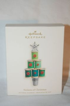 2007 NOTIONS OF CHRISTMAS Hallmark Ornament Thread Thimble Buttons NEW sewing