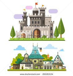 Medieval stone fortress and old timber house landscapes. Sprites for game. Vector flat illustrations