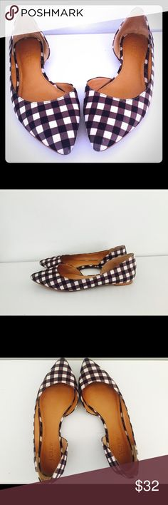 J Crew Flats Checkered Gingham Dorsey Blue White 8 Classic D'orsay Flats In Gingham Seafoam Multi Sandals in navy blue and white.                       Very good condition Size 8 J. Crew Shoes Flats & Loafers