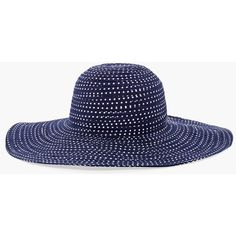 Chico's Navy Dot Sun Hat (2.900 RUB) ❤ liked on Polyvore featuring accessories, hats, navy, beach hat, wide brim hat, studded hat, navy blue hat and cotton hat
