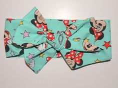 Head wrap, Mouse head wrap, Bow headwrap. Disney Minnie  Mouse Being Silly Teal  , Hello Summer headband, top seller. READY TO SHIP by madebygrannyshands on Etsy
