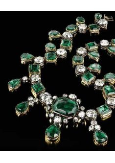 The Lothian Emeralds ~ Every generation of the family of the Marquis of Lothian has believed that the majority of these emeralds were given by the Empress Catherine II to their ancestor, the Earl of Buckinghamshire, during his embassy to St. Petersburg 1762-1765. He was handsome, the Empress was particularly susceptible to good looking men. He gave the necklace to his daughter who died childless and passed it to her sister's son, the Marquis of Lothian. It is still kept with this family