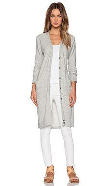 0d65b714688 James Perse Long Fleece Cardigan in Heather Grey Stripe Fleece Cardigan