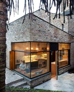 Jules this is a corner seamed window. NOJI Architects uses reclaimed bricks for angular extension to historic Dublin house / Brick Addition by NOJI Architects, Dublin Box Architecture, Residential Architecture, Contemporary Architecture, Contemporary Tile, Sustainable Architecture, Contemporary Bedroom, Architecture Colleges, Contemporary Apartment, Contemporary Wallpaper