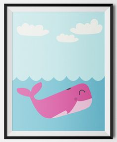 A cute whale illustration perfect for a little girls room or nautical nursery.