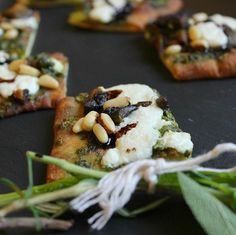 You and your guests will love the Grilled Portobello Flatbread with Gibbet Hill arugula pesto and toasted pine nuts! #weddinginspo #horsdoeuvres #cocktailhour #weddings #weddingfood #bostoncaterer #firesidecatering #evedeso #eventdesignsource - posted by  https://www.instagram.com/firesidecatering. See more Wedding Designs at http://Evedeso.com