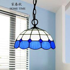 Romantic mediterráneo azul de la lámpara luces led lámparas tiffany colgante
