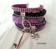Bracelet très large manchette Liberty violet authentique strass simili cuir La clé des champs pour femme : Bracelet par libertylily