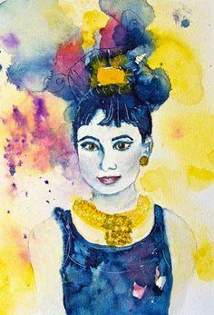 watercolour 'Audrey Hepburn' von Andrea Fettweis bei artflakes.com als Poster oder Kunstdruck $19.41