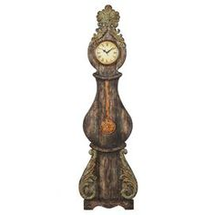 """Hand-painted grandmother table clock.Product: Table clock    Construction Material: Wood and iron    Color: Multi    Features:Hand-paintedDistressed Roman numeral dial and second hand Accommodates: (1) AA battery - not included       Dimensions: 40.6"""" H x 11.8"""" W x 1.6"""" D    Cleaning and Care: Wipe with soft dust cloth"""