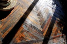 This reclaimed oak herringbone is fantastic. It looks a hundred years old, you'd never guess it was milled last week. Herringbone Wood Floor, Hardwood Floors, Flooring, Baltic Birch Plywood, Nature Decor, Engineered Wood, Im Not Perfect, Plank, Design
