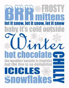 Printable Christmas Blue Winter Digital Subway Art Typography Decoration 11x14 and 8x10. $4.00, via Etsy.