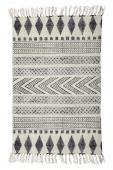 BLOXK RUG 90X200 Rug with printed black patterns. Peroba. Size: 90 x 200 cm 100% cotton