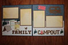 12 x 12 premade Camping scrapbook layout by creationsbycindyg, $10.00