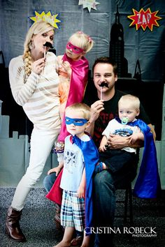 Photo booth with Pip and Bean Super Hero capes
