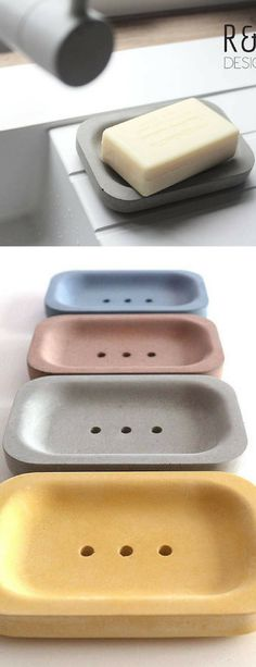 Concrete ellipsis soap dishes. I really like the simple design and cool colors. A gorgeous bathroom accessory. I normally don't like concrete things as they are mostly far to rough but These are a very pleasant acception to the rule ;)