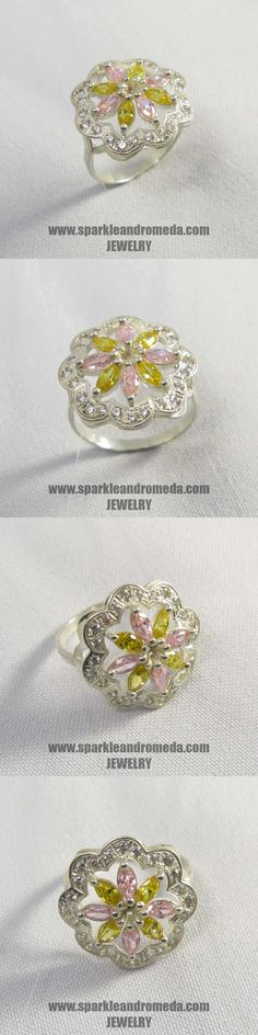 Sterling 925 silver ring with 4 marquise mm pink morganite color 4 marquise mm golden beryl color and 16 round mm white color cubic zirconia gemstones. 925 Silver, Silver Rings, Gemstones, Bracelets, Pink, Handmade, Color, Jewelry, Month Gemstones