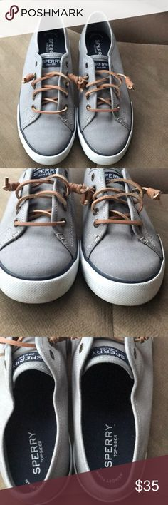 Sperry slip on sneaker. 7.5 Worn once I believe from what I recall. Too small for me. Gray. Excellent condition. Perfect. A year round staple. Sperry Top-Sider Shoes Sneakers