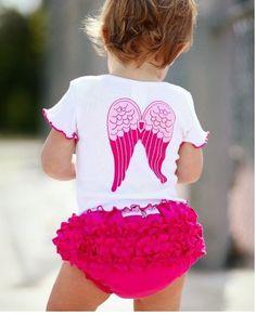 novo verão 2pc infantil crianças menina crianças recém-nascido anjo branco rosa quente top+ruffle shorts calças conjunto roupa roupa 9.78