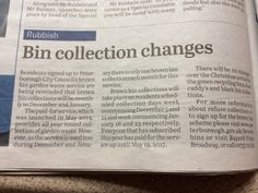 In case you missed it, the collection service for the Brown Bins is changing for the next couple of months!