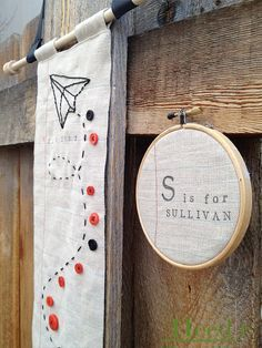 Child's growth chart and customized name hoop by NaturesNeedle, $74.00