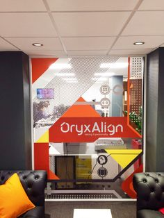 www.vinylimpression.co.uk Office window graphics for Oryx Align by Vinyl Impression.