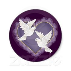 Heart and Doves - Purple Round Stickers