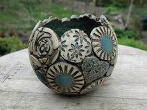 Pflanzkugel-Keramik-Patchwork-beige-blau