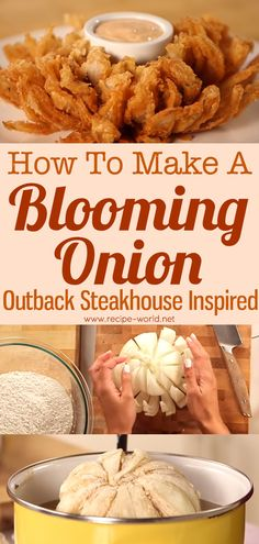 Recipe World How To Make A Blooming Onion - Outback Steakhouse Inspired - Recipe World Blooming Onion Recipes, Outback Blooming Onion Sauce, Baked Blooming Onion, Onion Petals, Good Food, Yummy Food, Delicious Recipes, Appetizer Recipes, Appetizers