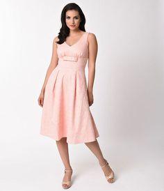 Voodoo Vixen 1950s Style Peach Pink Lace Lauren Swing Dress