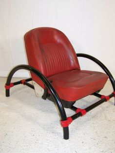 Vintage red leather Rover kee clamp armchair ron arad top gear chair