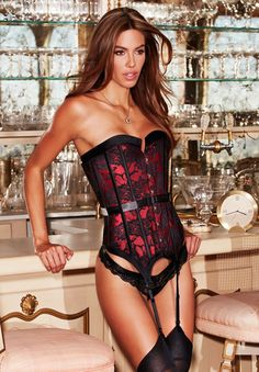 New from the Baci Corset Collection! A beautifully made corset in red satin with a elegant black floral lace layer over the top. A classic corset, offering a classy and ultra sexy look. Featuring steel boning and removable garter. Retro Lingerie, Women Lingerie, Sexy Lingerie, Red Corset, Lace Corset, Luxury Gifts For Her, Rave Wear, Look At You, Sensual
