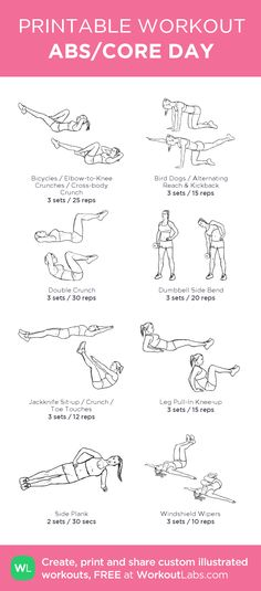 ABS/CORE DAY: my visual workout created at WorkoutLabs.com • Click through to customize and download as a FREE PDF! #customworkout