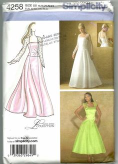 e5eed7410112 Uncut, Misses Size 8-16, Sewing Pattern, Simplicity 4258, Wedding Evening  Dress Gown, Woman, Size 8, 10, 12, 14, 16, bridal, Bridesmaid,