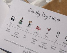 The Big Day 'Wedding Day' Timeline Card for by pixelstopaper