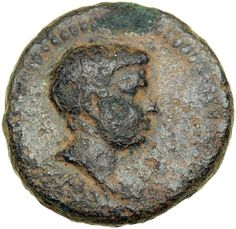Britannicus, son of Claudius. AE 17, minted at Smyrna, AD 50-54. VF Draped bare head facing right. Nike, right with trophy over shoulder. BMC 283; RPC (Nero Caesar) 2476. Uniform dark greenish-brown patina. Estimated Value $800 - 1,000. #Coins #Ancient #Roman #MADonC