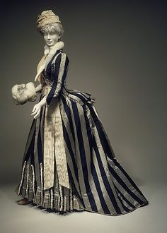 Walking Dress Made Of Striped Silk, Made By The House Of Worth   c.1885   -   The Met Museum