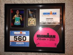 """Triathlon racebox! Custom, hand-made 16x20 shadowbox picture frame to proudly display all your triathlon race bling! Frame is 1.5"""" deep and holds your finisher medal, finisher certificate, race bib, swim cap, and a vertical 5x7 picture. Great gift for yourself, or anyone finishing any triathlon distance: 140.6 Ironman, 70.3 Half Iron, 5150 Olympic Tri, International, or Sprint. https://www.etsy.com/listing/172575582/triathlon-race-shadowbox-picture-frame"""