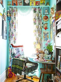 Charmingly kitschy home office.