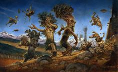 Энты крушат Ортханк    Ents Marching On Orthanc - Justin Gerard (from Tolkien's Lord of the Rings), in ScruffyPerkin's Tolkien Art Comic Art Gallery Room
