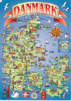Denmark map postcard with pictures Denmark Map, Denmark Travel, Copenhagen Denmark, Helsingor, Legoland, Kingdom Of Denmark, Scandinavian Countries, Aalborg, Voyage Europe