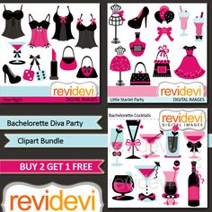 Bachelorette Diva Party Clipart Bundle - This is a great collection of clip arts for ladies theme creative projects such as party invites, paper crafts, party printable, and more.