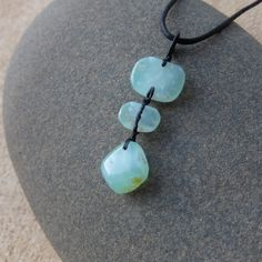 Sea green Chrysoprase necklace - unique gentle translucent green natural stone macrame necklace handmade by NaturesArtMelbourne by NaturesArtMelbourne on Etsy