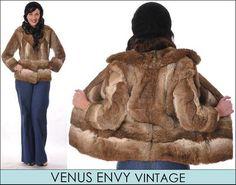 Vintage Genuine Natural Brown Grey White Rabbit Fur Jacket Coat Satin Lined S