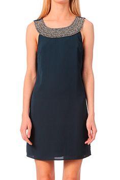 Robe avec perles Nabit Bleu / Marine Vila sur MonShowroom.com