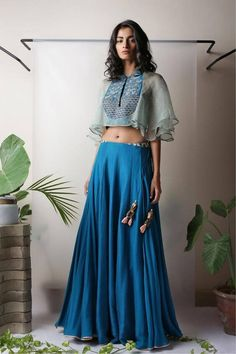 Floaty, pretty blue lehenga From Perinia's Pop Up Shop Indian Attire, Indian Ethnic Wear, Indian Style, India Fashion, Ethnic Fashion, Indian Dresses, Indian Outfits, Trendy Dresses, Fashion Dresses