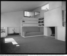 SHULMAN, JULIUS (1910-2009) [Ralph C. Walker House - interior living room, 2100 Kenilworth Avenue, Los Angeles, CA. 1936. Rudolph M. Schindler architect]. Schulman's career started in 1936 - so this is one of his earliest images.